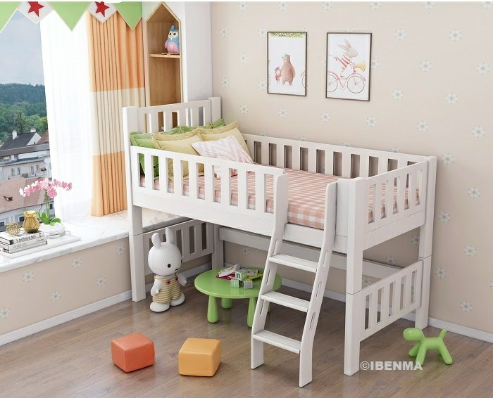 low loft bed for younger